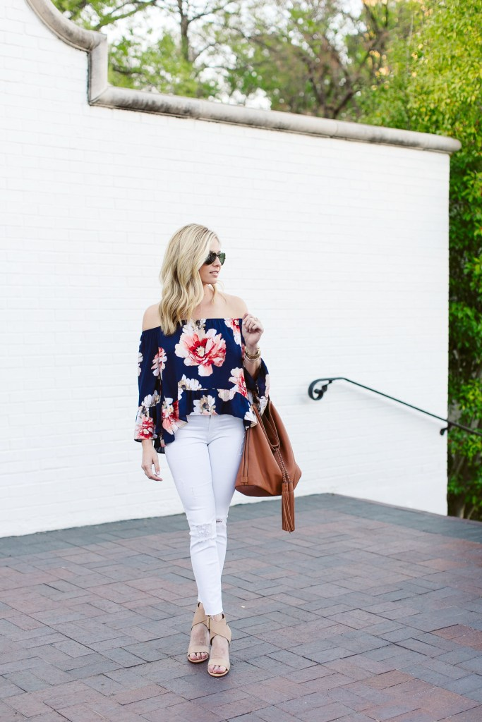 639686f274e86a blue floral off the shoulder top-causal beach outfit-white ripped skinny  jeans