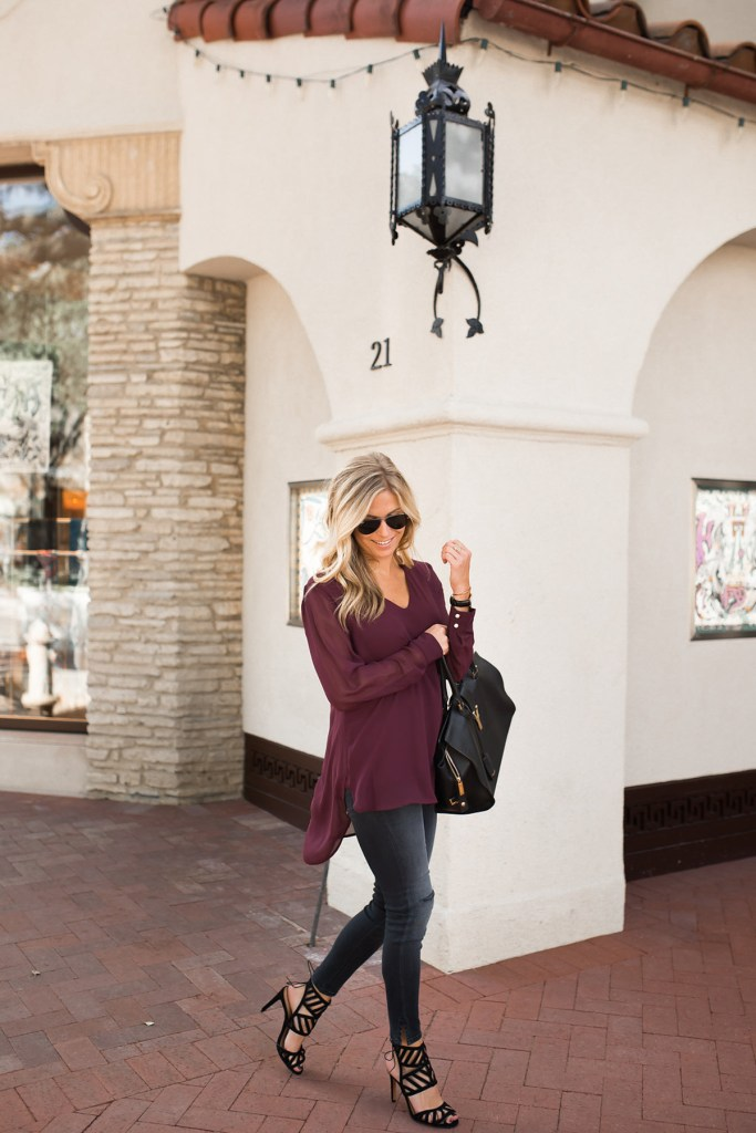 c61f7a62be Burgundy V-Neck Blouse | Burgundy Fall Outfit Idea
