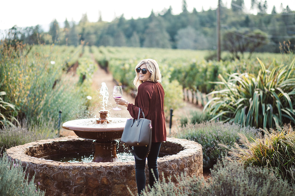 rust pleated blouse - spence winery napa