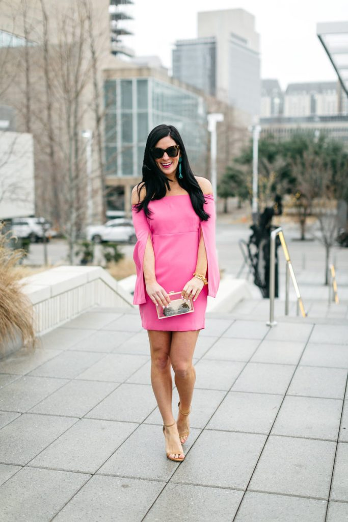 gal about town, galentines day dresses, pink off the shoulder dress
