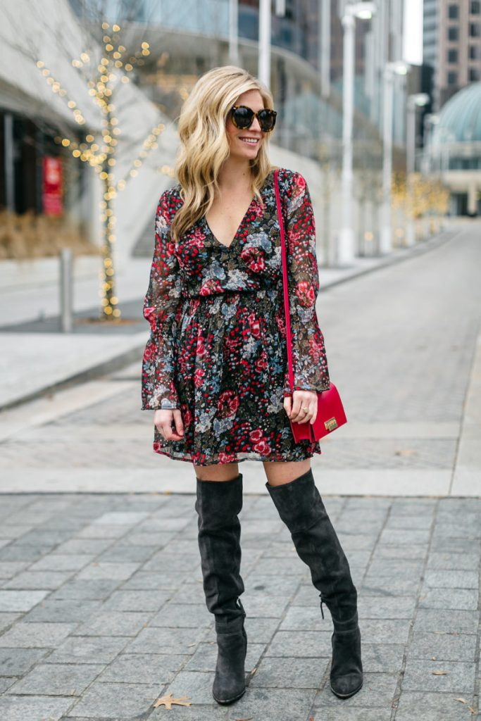 over the knee boots grey, red purse, floral dress, brooke burnett, dallas fashion blogger