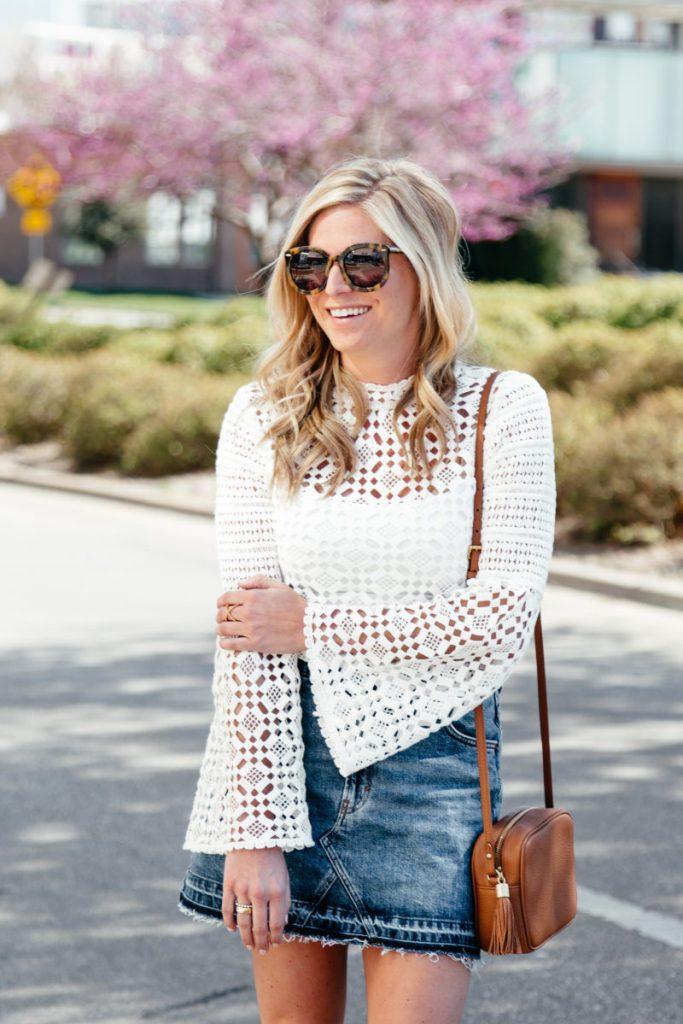 lace bell sleeve top, frayed denim skirt, brooke burnett, dallas fashion blog