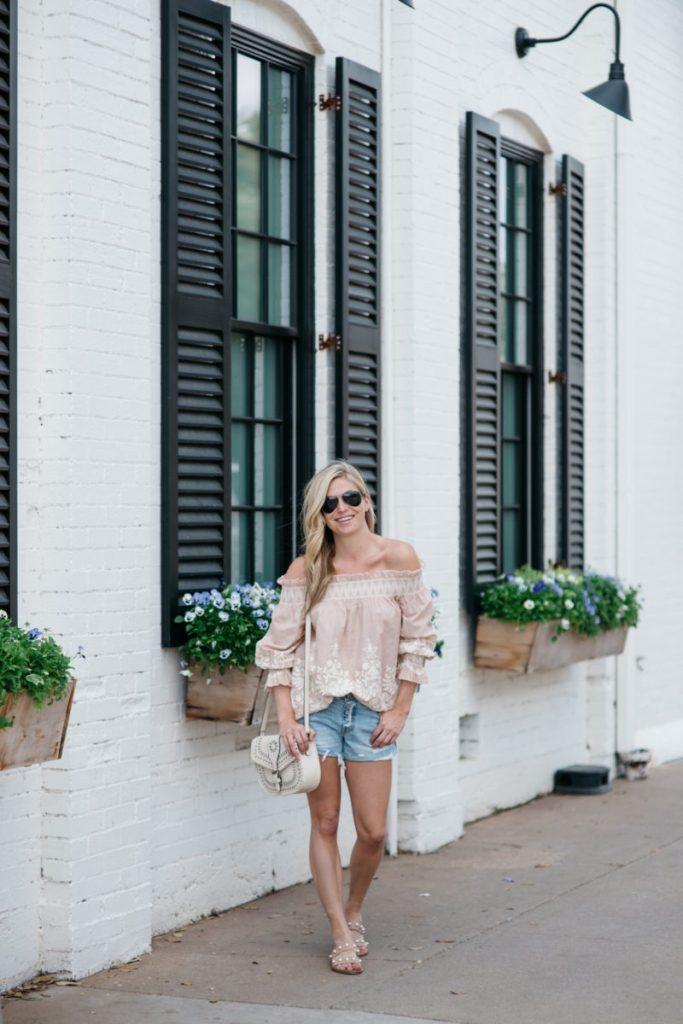 blush off the shoulder top, cut off denim shorts, magnolia market at the silos, off the shoulder outfit, dallas fashion blogger