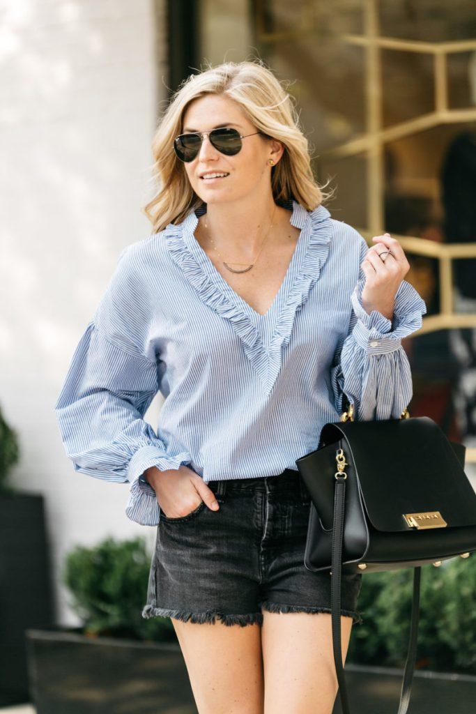 blue striped tops, blue stripe ruffle top, black cut off shorts, zac zac posen bag, dallas style blogger