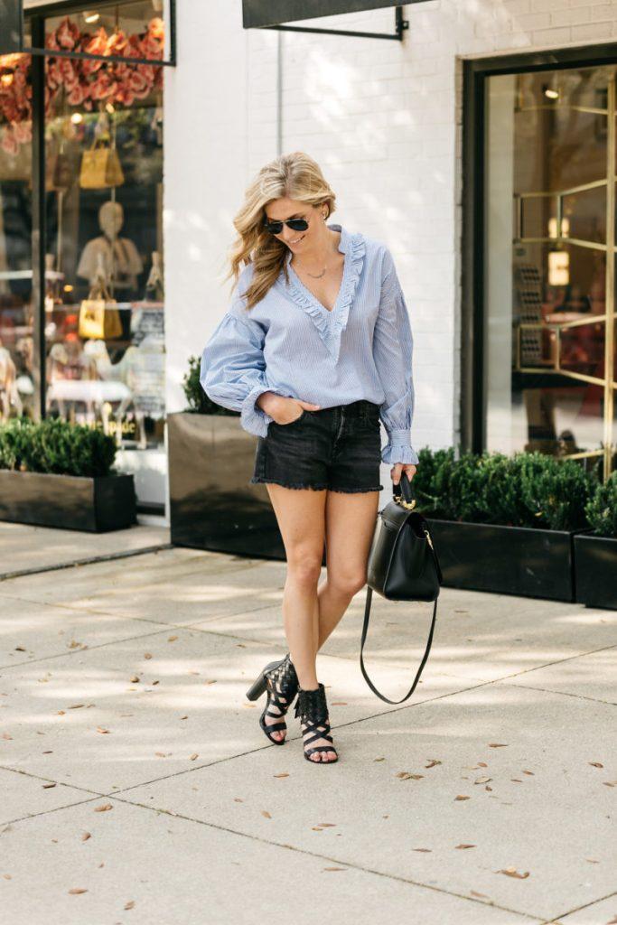 blue striped tops, striped ruffle blouse, black denim shorts, dallas fashion blogger, brooke burnett