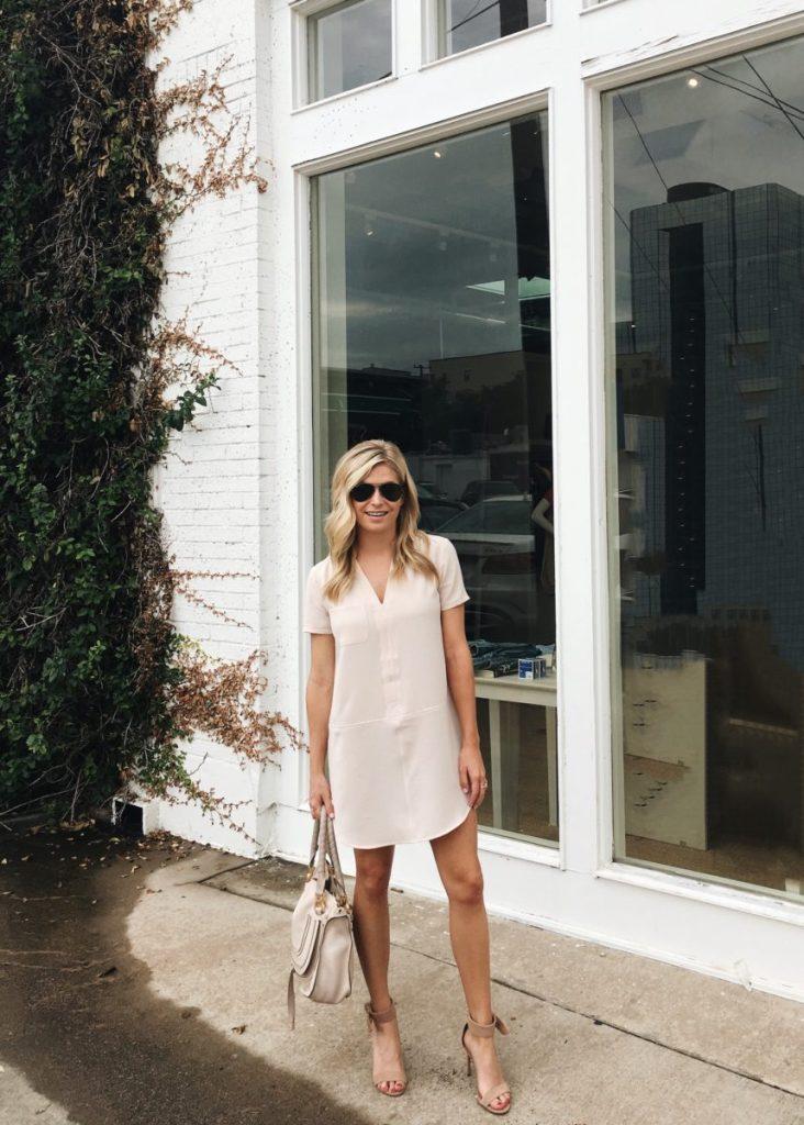 blush shift dress, dallas fashion blogger