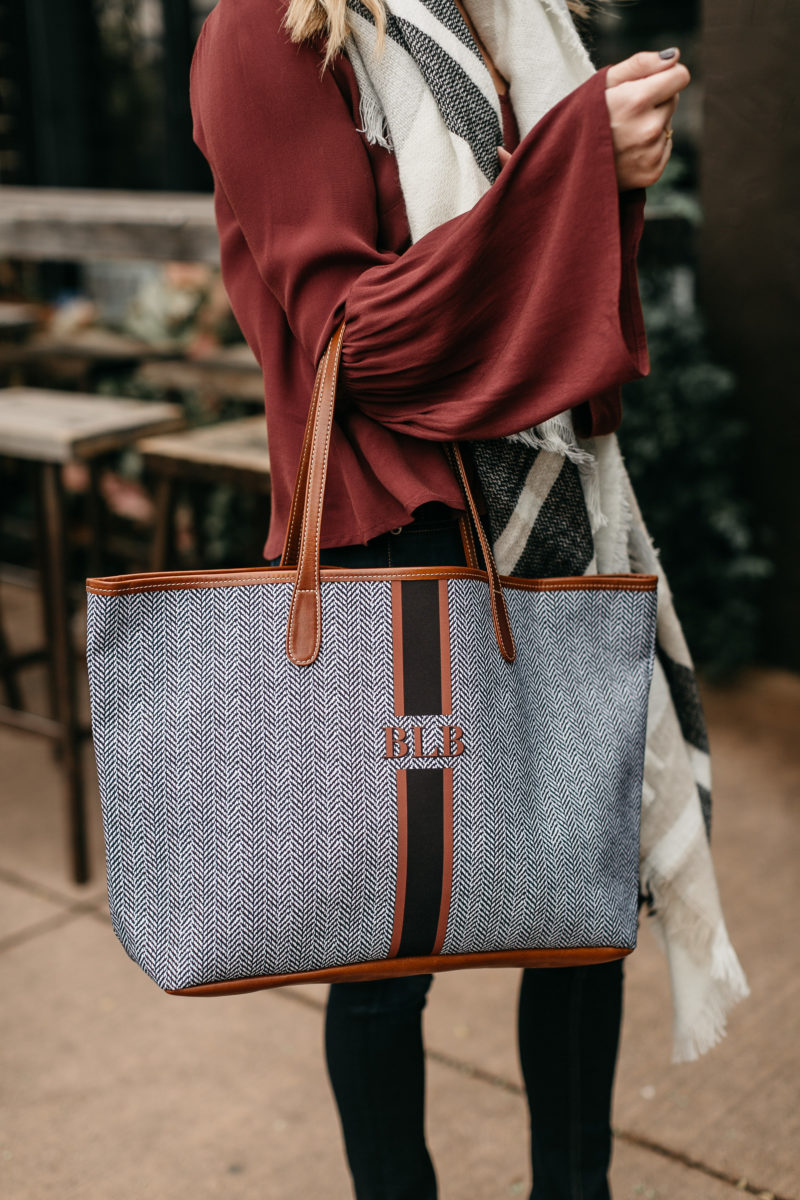 monogram bags, fall gifts, holiday travel