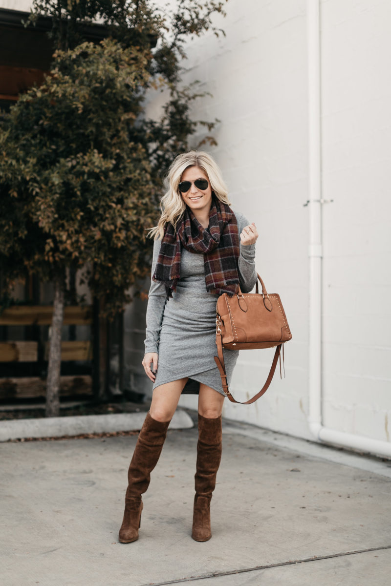 aviators, midi dress, sweaters