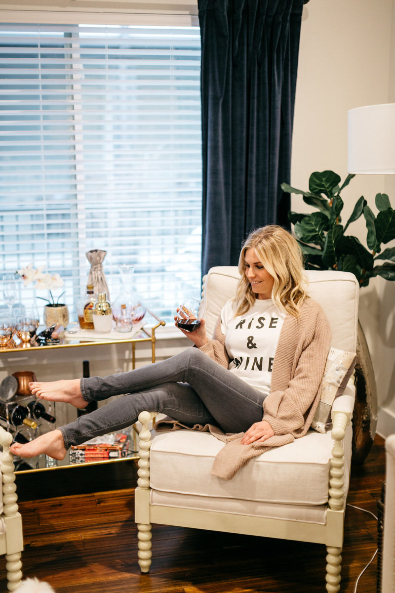 rise & wine shirt, anthropology must haves, dallas living room decor