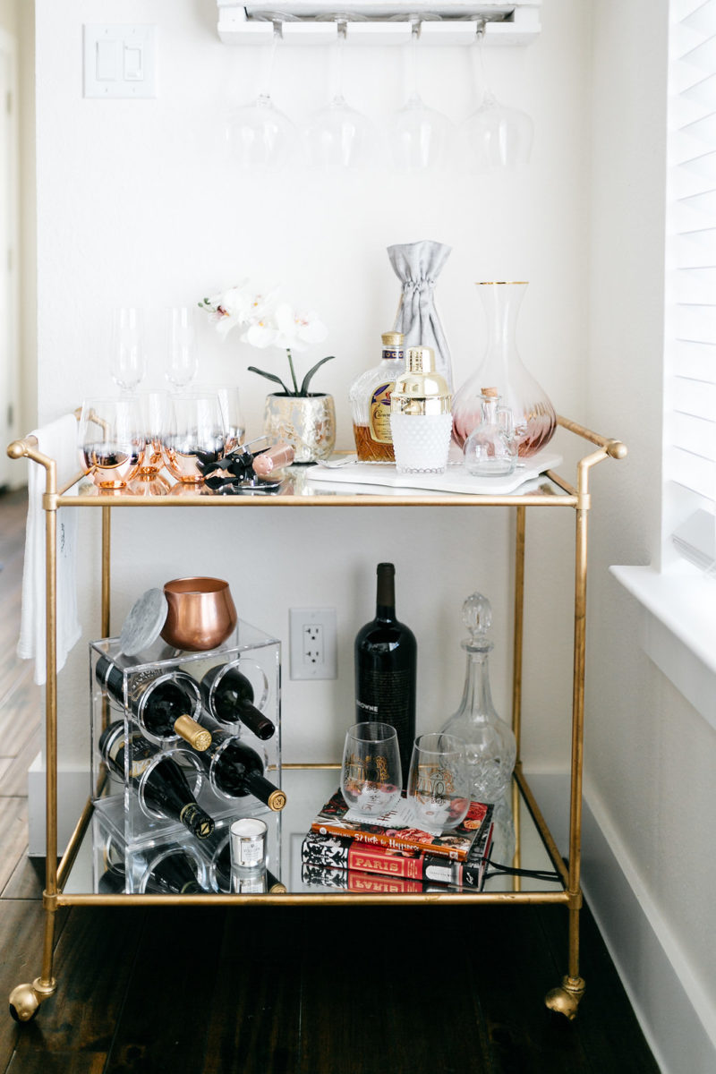dallas style blogger, red wine lover, bar cart decor, valentine's day party