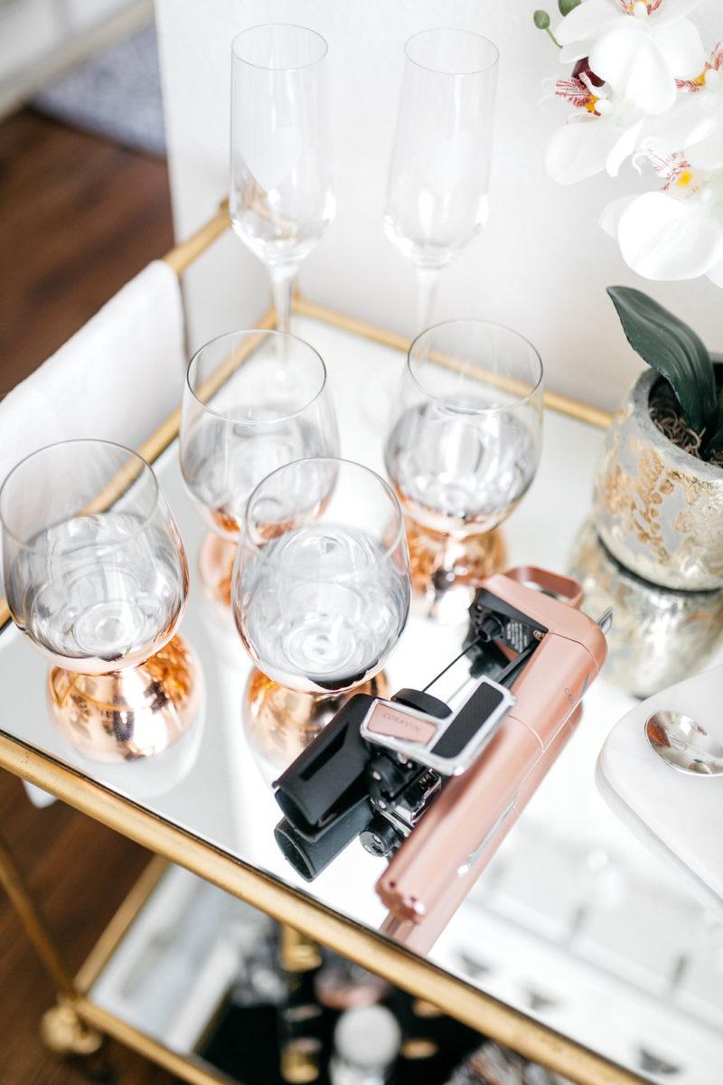 chic wine glasses, pink home decor, single for valentine's day, brooke burnett