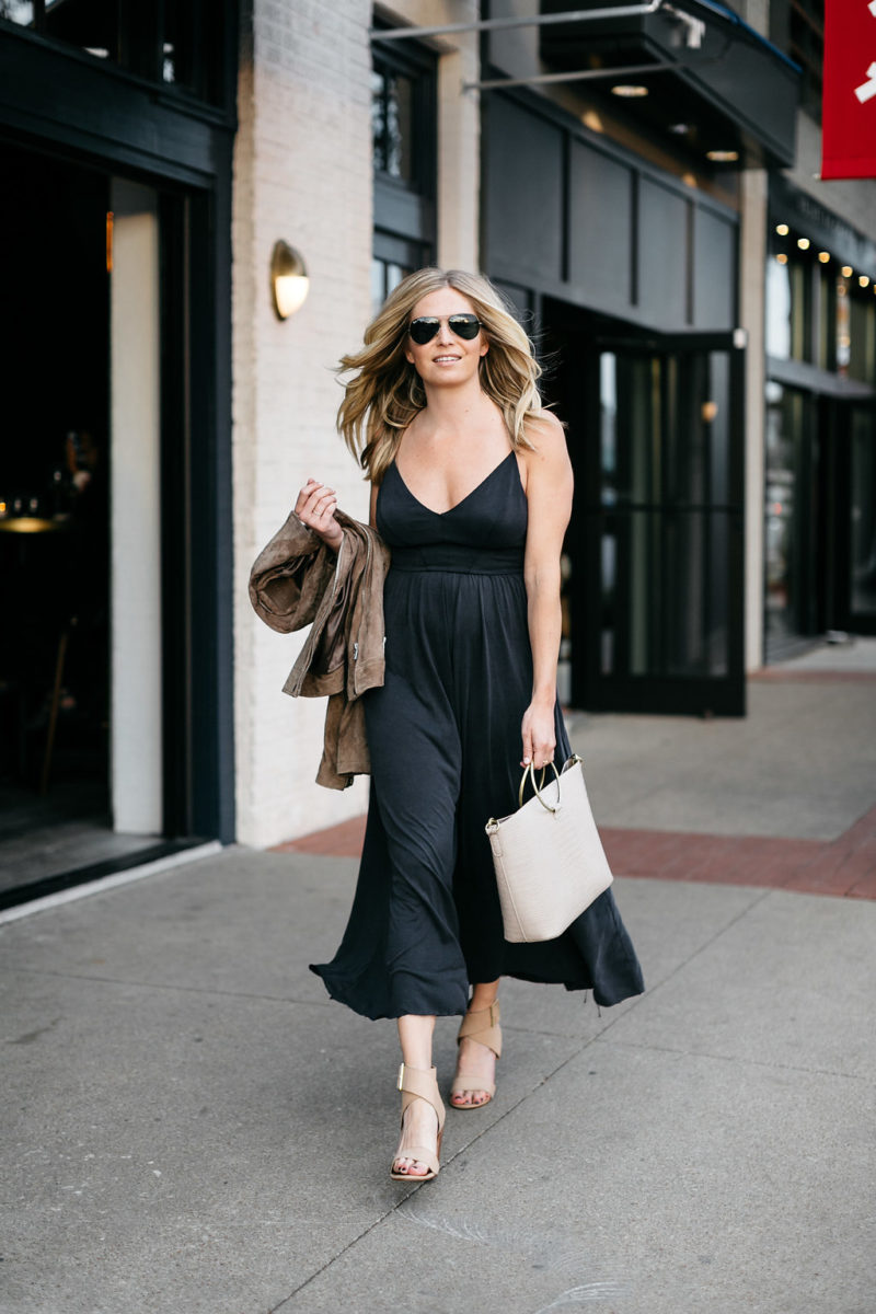 black jumpsuit with jacket, casual strapless black jumpsuit, dallas style blogger