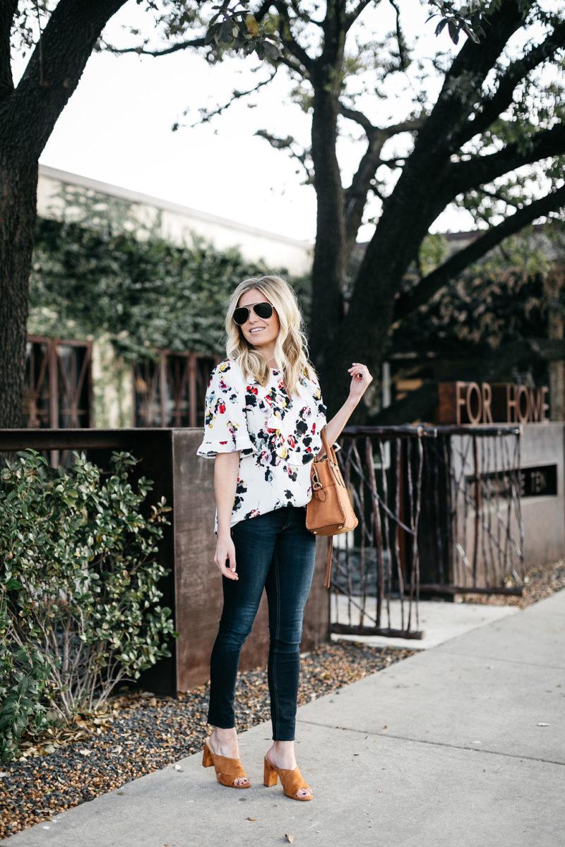 winter florals fashion trend, dallas lifestyle blogger, wearing white in winter