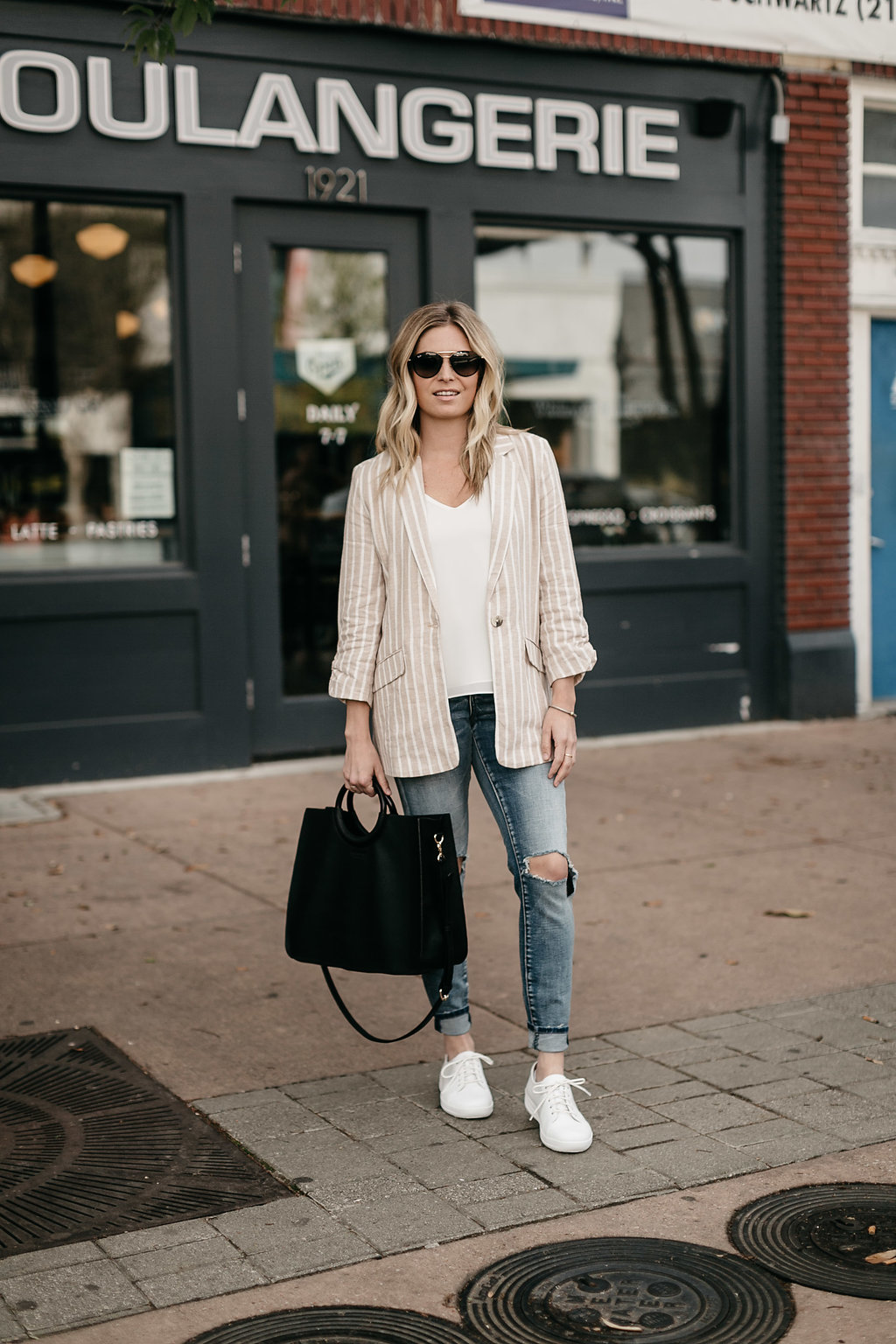 Fitflop shoes paired with trendy blazer and distressed jeans