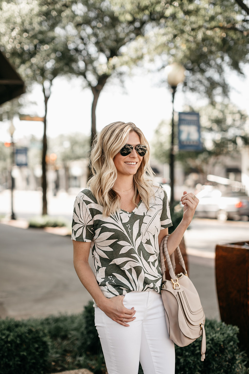 Ann Taylor - tropical leaf v-neck tee - One Small Blonde