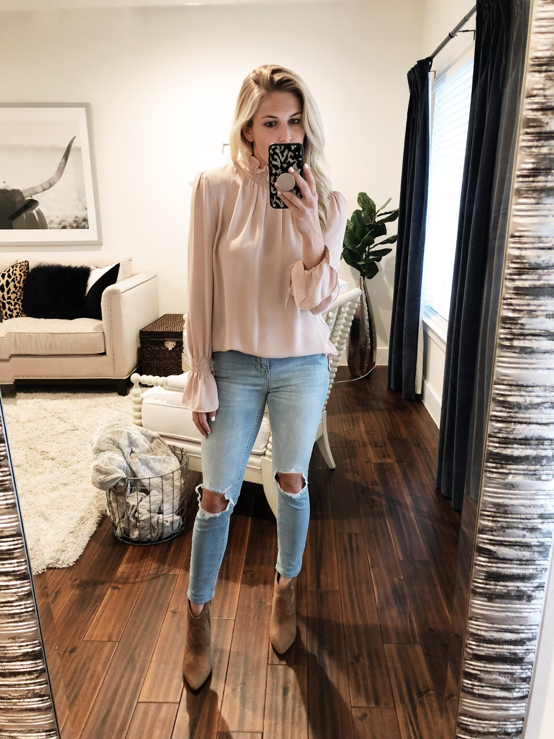 Vince Camuto Motiva Bootie // Size 7 1/2  Vince Camuto Smocked Neck Blouse // Size S  Free People High Waist Ankle Skinny Jeans //