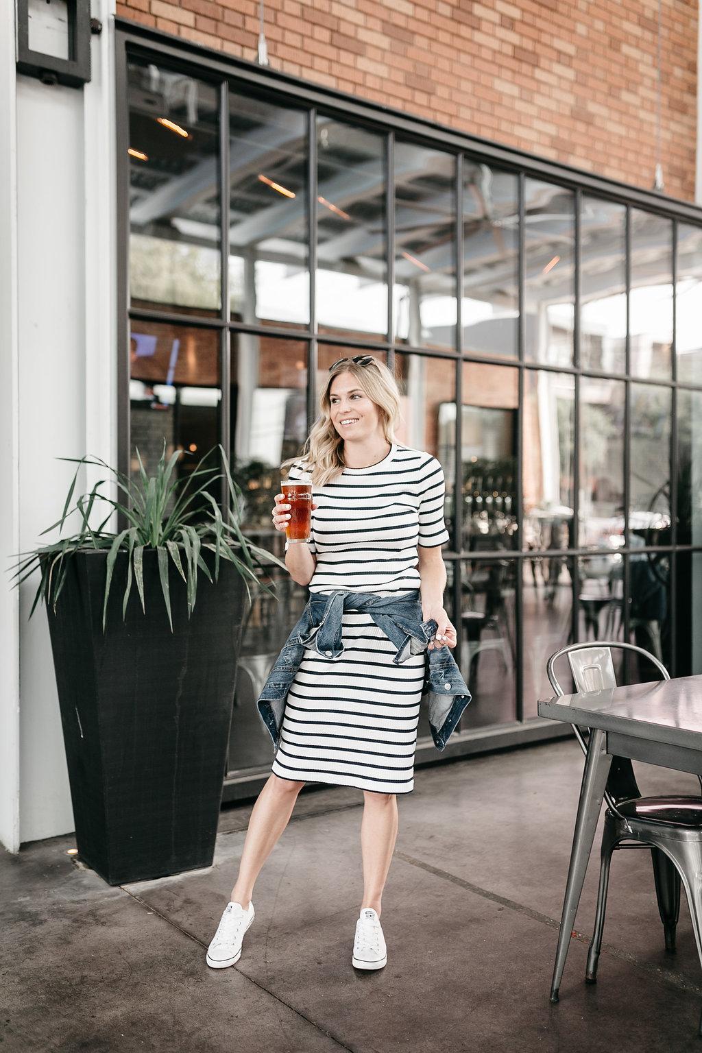 Stripe Rib-Knit T-Shirt Dress