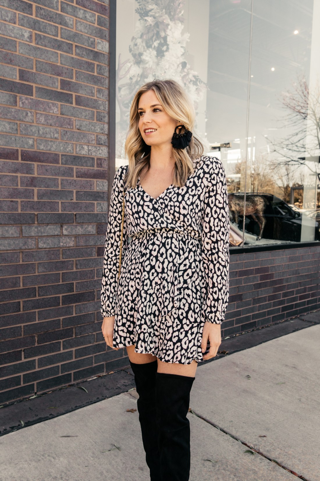 GET GLAM WITH EXPRESS - LEOPARD DRESS OTK Boots