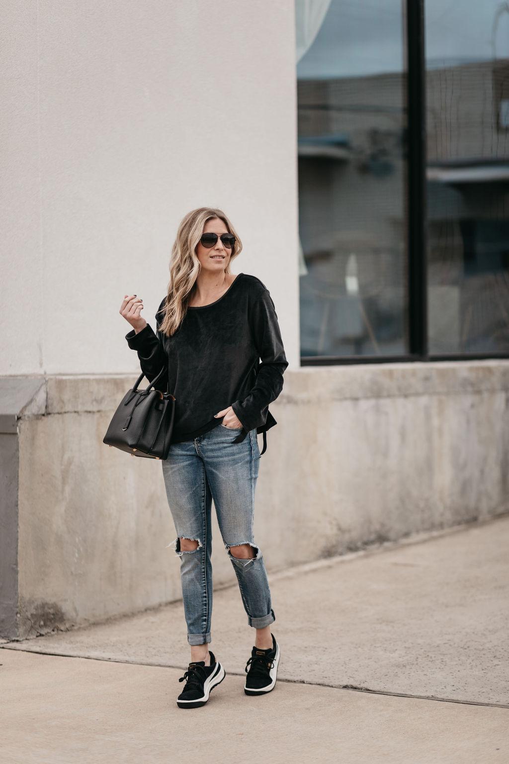 black top and jeans