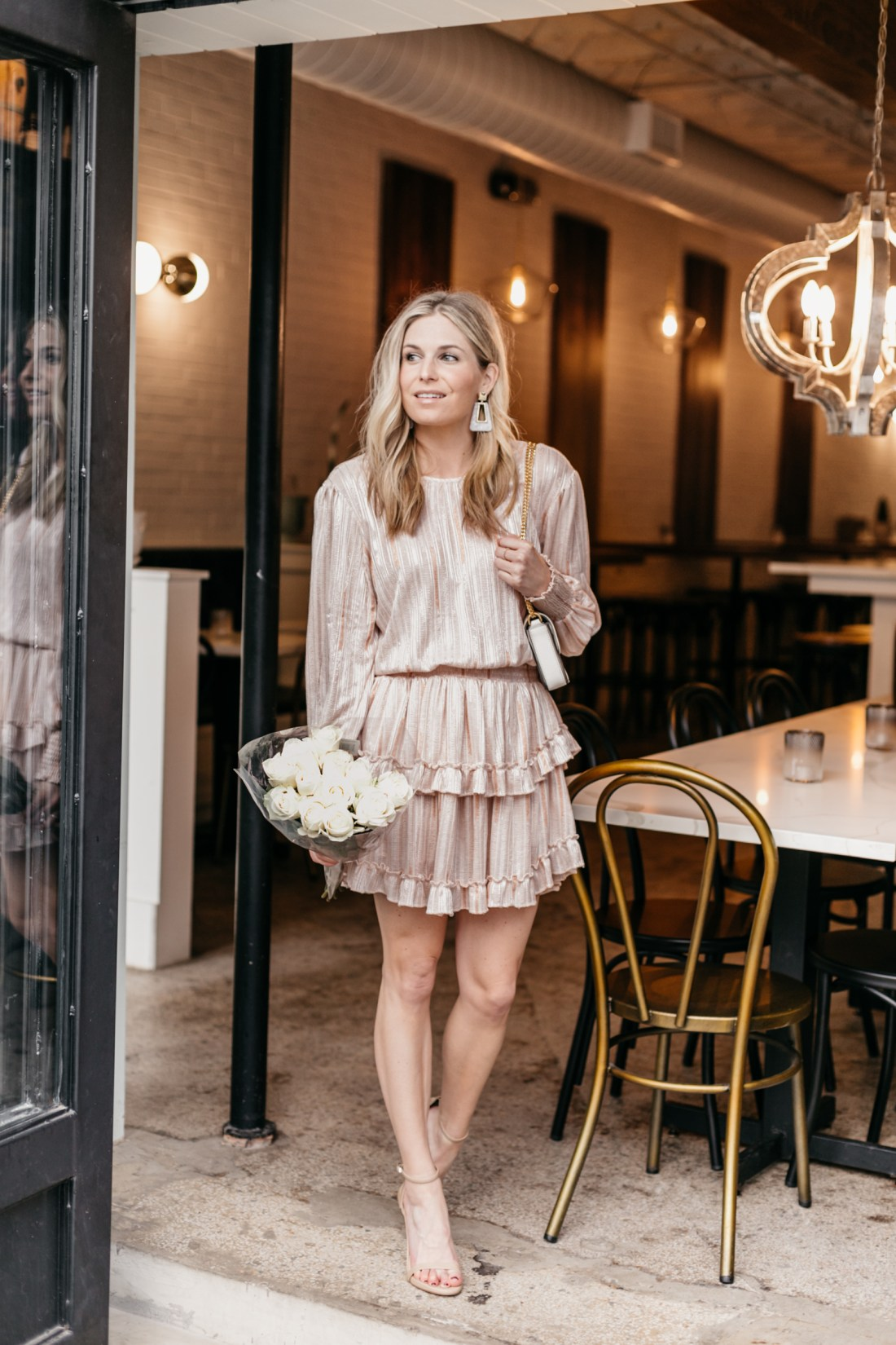 Blush Pink Ruffle Dress & White Roses
