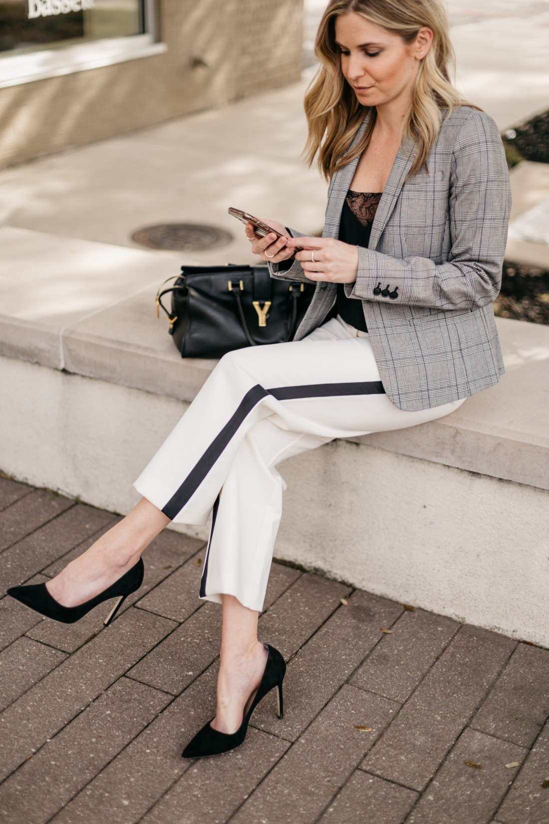 OUTFIT 1  White with Black Stripe Pants // Black Lace Camisole // Grey Plaid Fitted Blazer // Black Suede Pumps // Black Work Bag