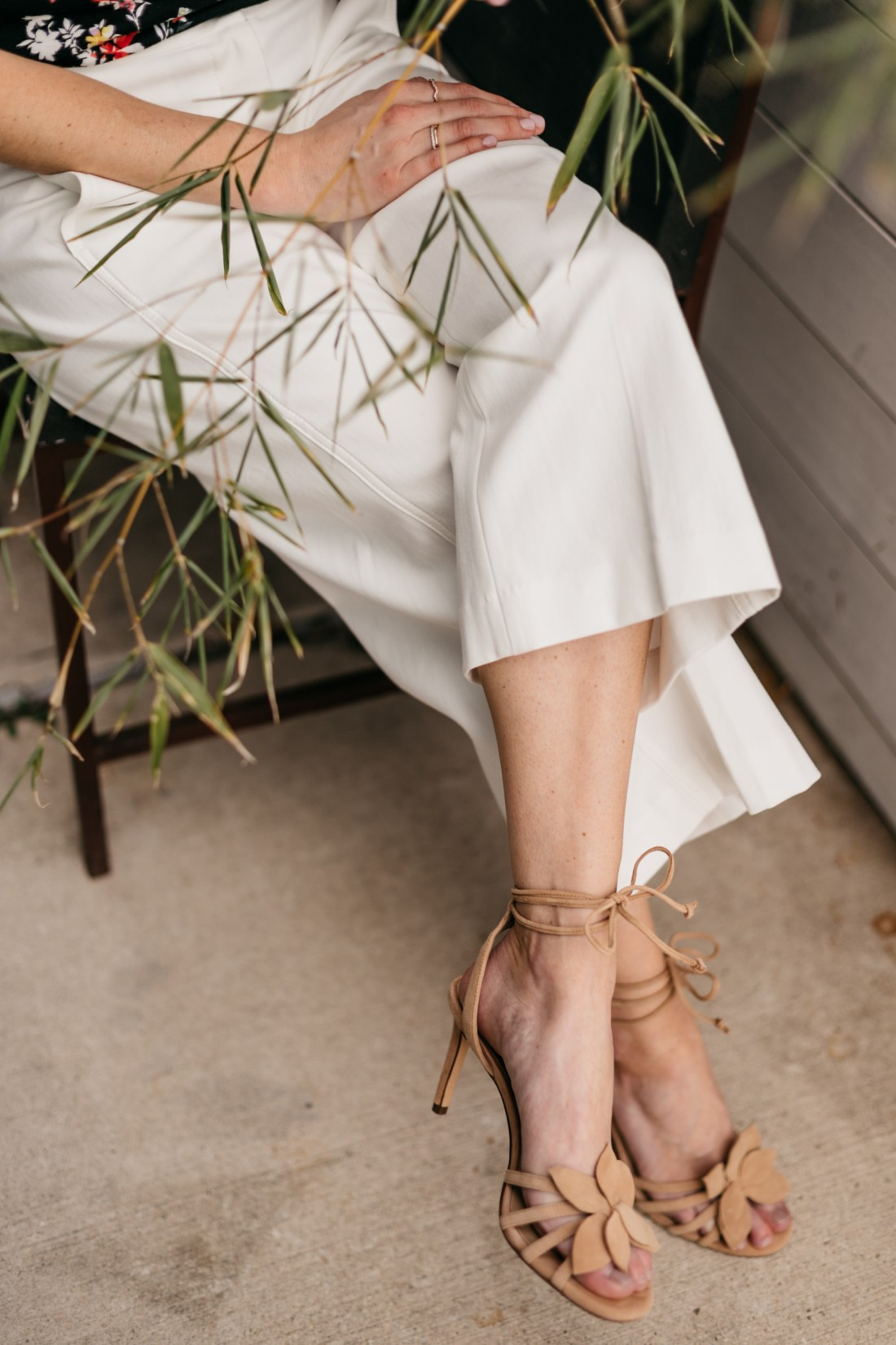 Lillie Flower Suede Heeled Sandals from Ann Taylor