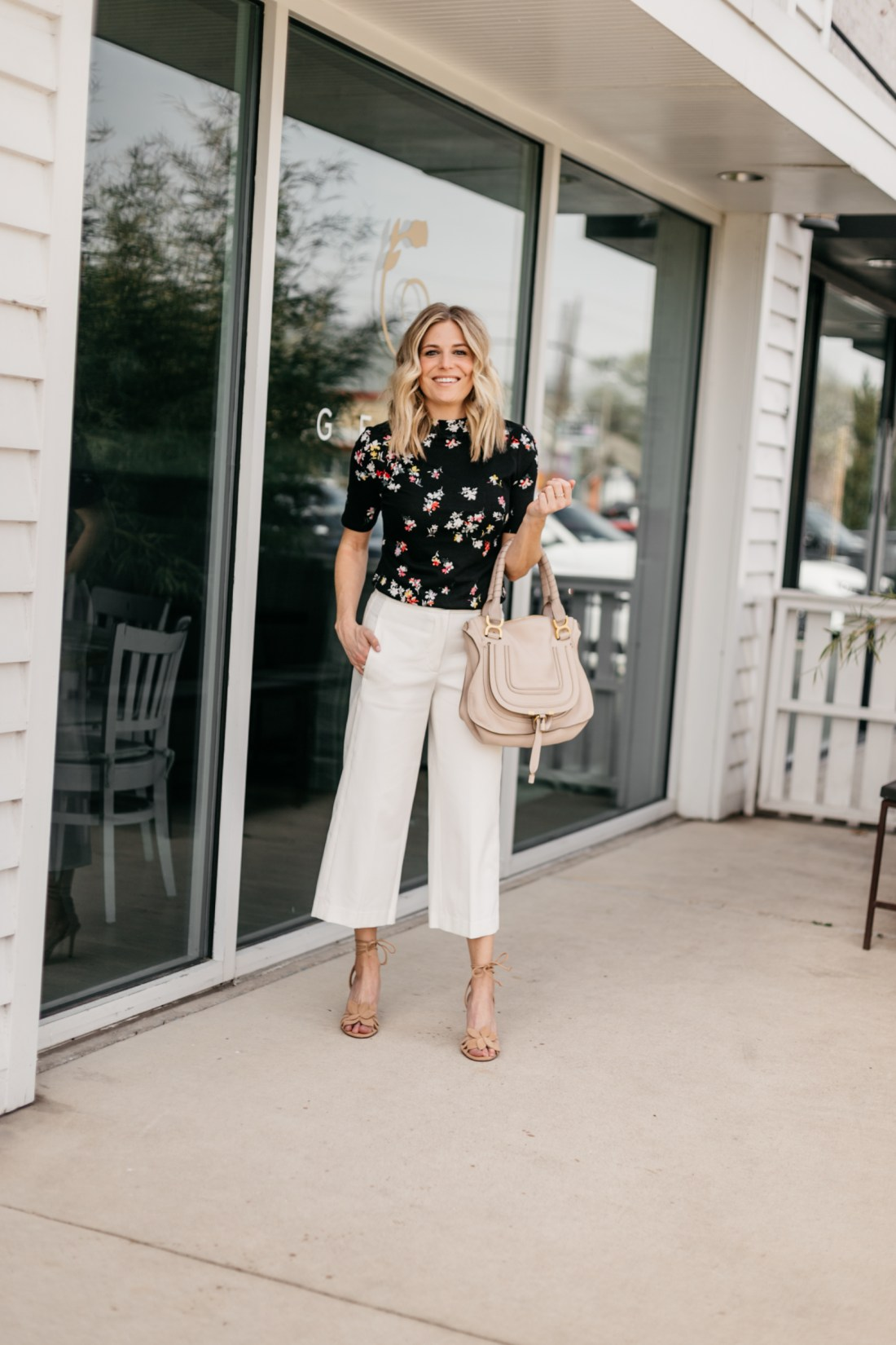 Brooke Burnett is featuring a Floral Mock Neck Top and The Wide Leg Marina Pant from Ann Taylor