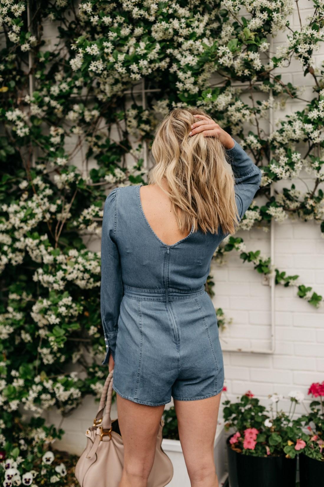 Spring Rompers on the blog - Brooke's outfit details: Denim Romper // Chloe Marcie Handbag