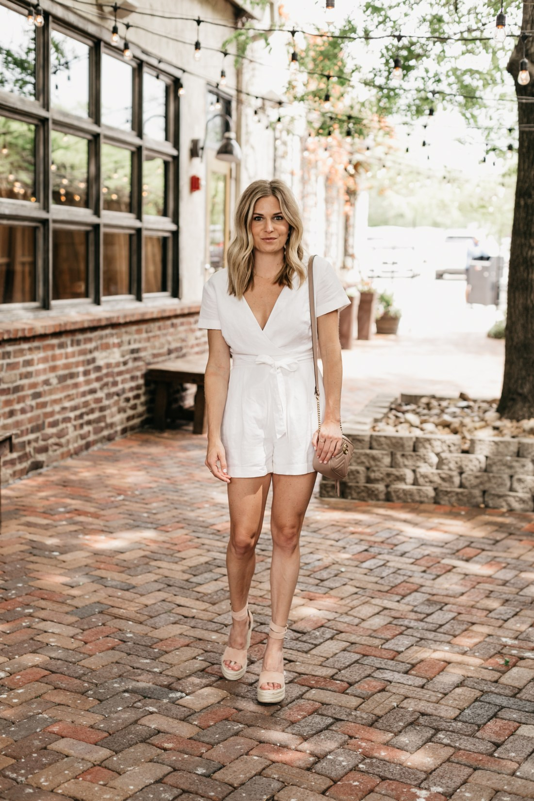 Brooke's outfit details: White Tie Waist Romper // Scalloped Nude Wedges // Gucci Crossbody