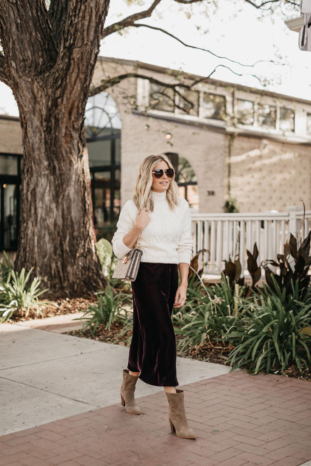 how to wear velvet midi skirt