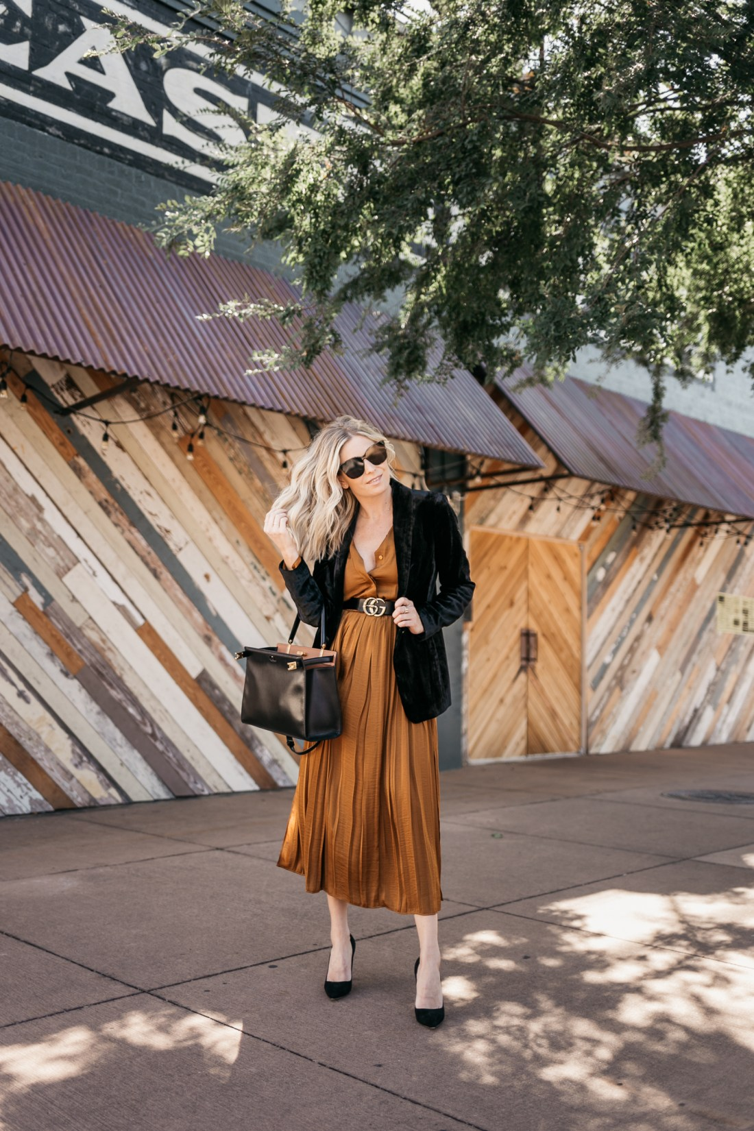 how to style COPPER DRESS FOR WORK