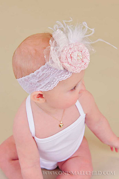Lace Rosette Headbands for Babies | One Small Child