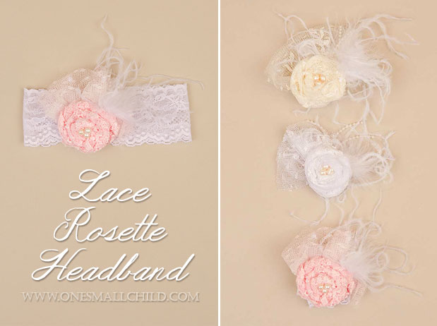 Lace Flower Christening Headbands   One Small Child