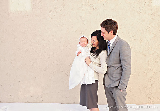 Winter Christening Portrait Ideas | Jessa Christening Gowns at One Small Child
