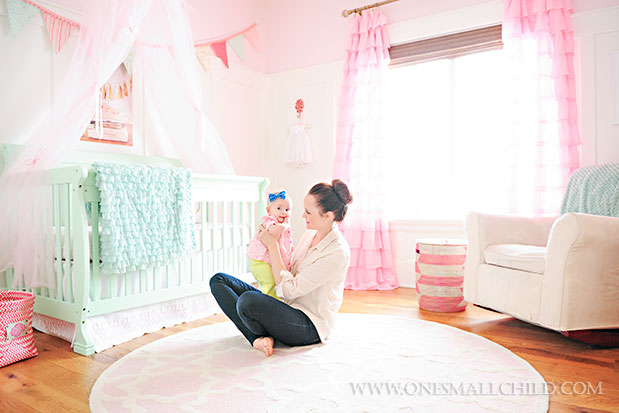 Lyla's adorable pink and aqua nursery | See the entire nursery at One Small Child: www.onesmallchild.com