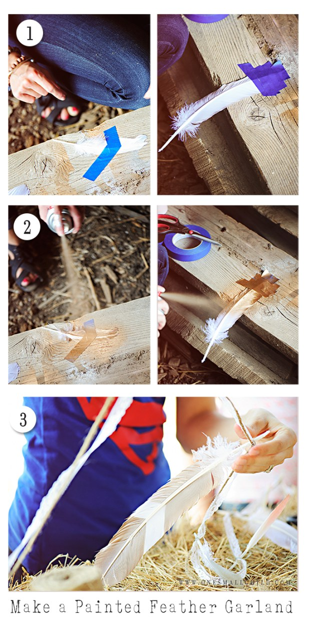 Easy Painted Feather Garland Tutorial | Christening Party Decorations
