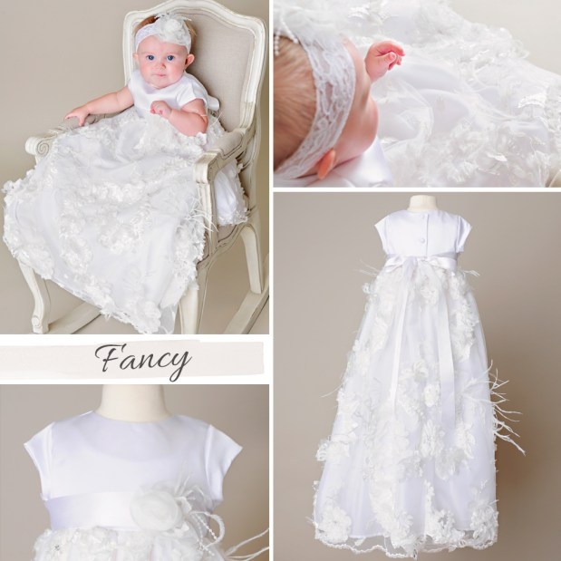 Fancy Feathered Christening Gown