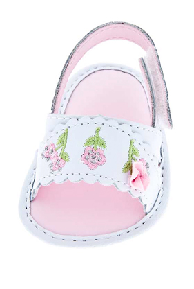 White Embroidered Baby Sandals