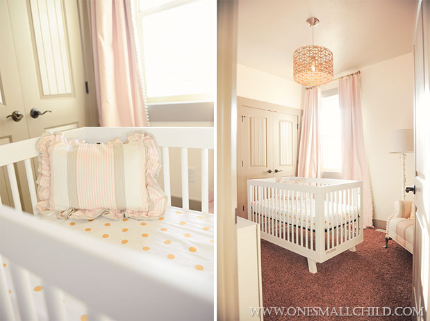 Nellies Pink Gold Gray Baby Girl Nursery   One Small Child