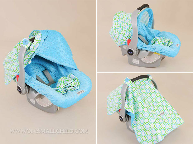 How cute! A blue cover kit for a baby car seat! $66.00 | See more carrier makeover kits at One Small Child: www.onesmallchild.com