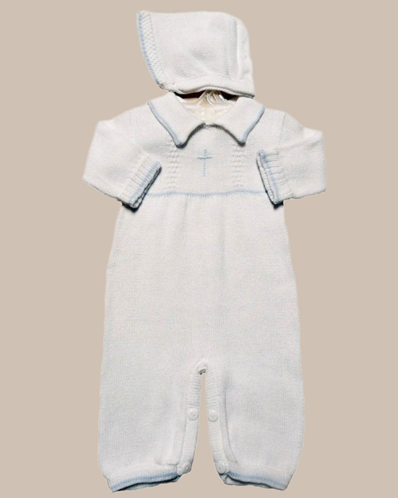 Boy's Soft Cotton Knit Christening Baptism Longall w/ White or Blue Cross and Hat