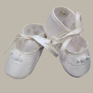 Girls Silk Dupioni Shoes with Ribbon Rosette