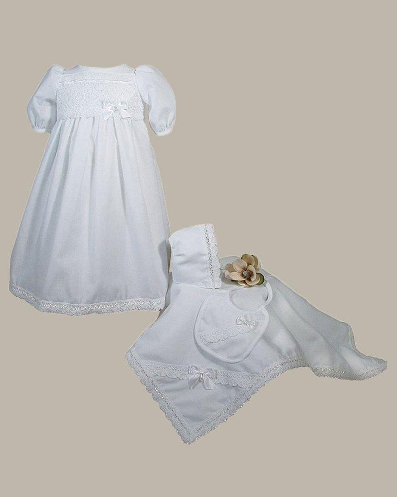 Girls Preemie Dress Christening Gown Baptism Set with Lace Hem