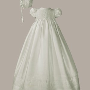 """Girls 32"""" White Silk Christening Baptism Gown with Smocked Bodice"""