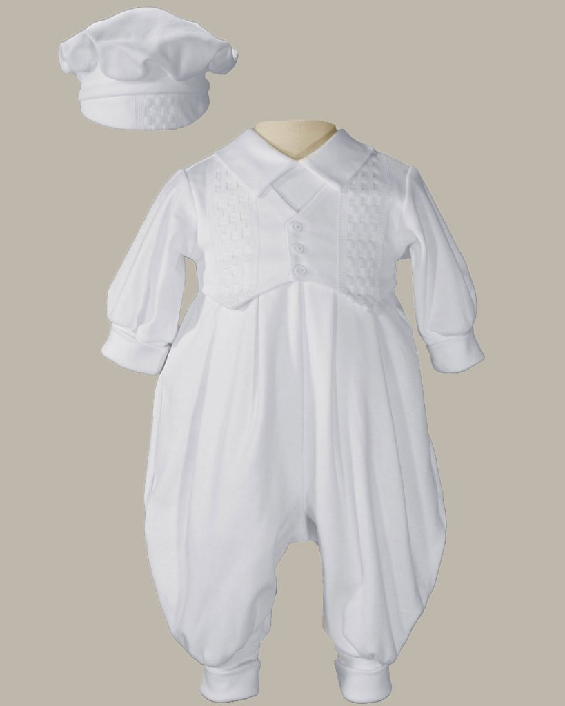 Boys Long Sleeve White Celebration Christening Baptism Set with Hat