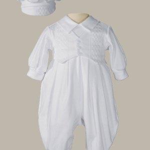 Boys Long Sleeve White Celebration Christening Baptism Set with Hat