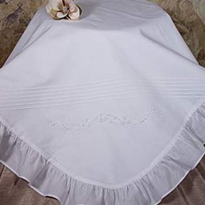 Hand Embroidered Cotton Christening Blanket with Ruffle