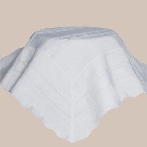 White Knit Baby Baptism Shawl