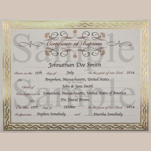 Customized Baptism Certificate with Gold Foil Leafing Border