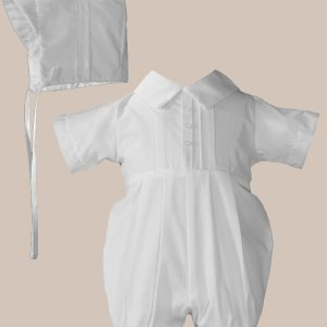 Boys Polycotton Christening Baptism Romper with Pin Tucking and Hat